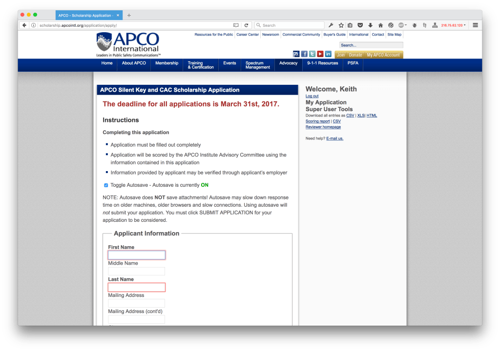 APCO Scholarship Application