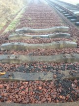 Concrete sleepers laid out where the wooden sleepers were...