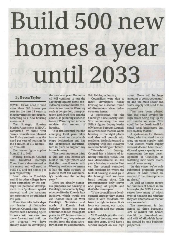 15.10.09 - Build 500 new homes a year until 2033