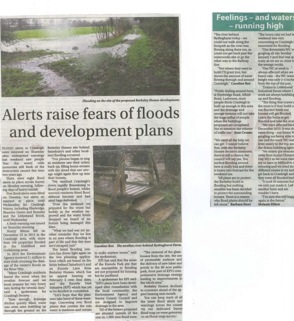 16.01.08 - Alerts raise fears of floods and development plans