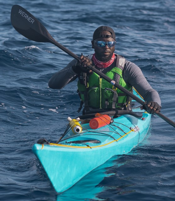 Mario Rigby kayaking on the Caicos Challenge