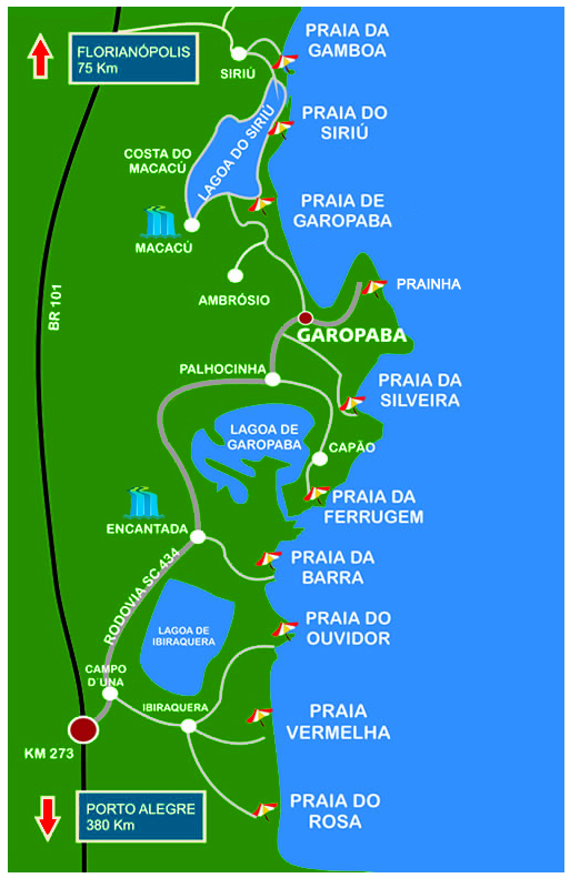 Map of beaches in Garopaba region