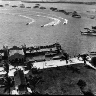 Biscayne Bay in front of Flamingo Hotel. Belle Isle upper right.
