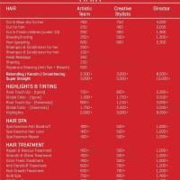 Haircut Prices Jawed Habib Salon