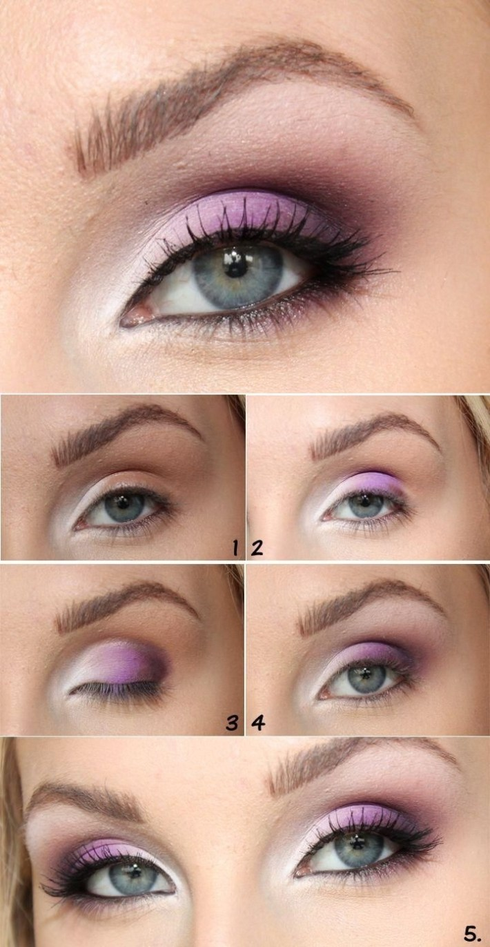 how to wear purple eyeshadow with blue eyes - wavy haircut