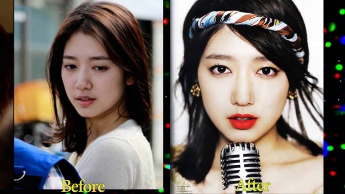korean celebrities before and after makeup - wavy haircut