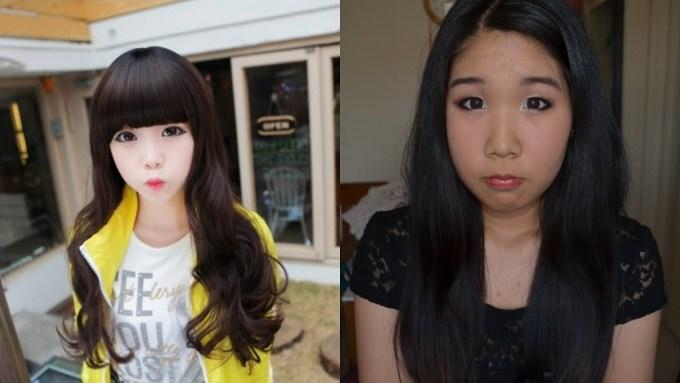korean ulzzang before and after makeup - wavy haircut