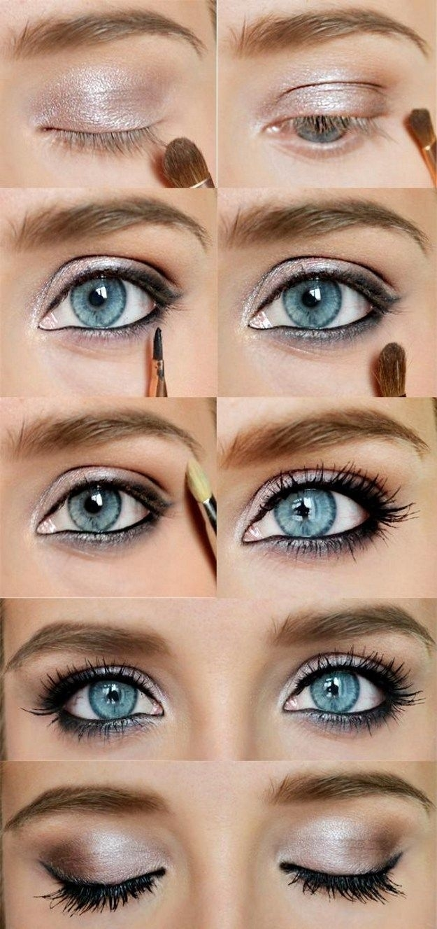 how to apply eye makeup for blue eyes brown hair - wavy haircut