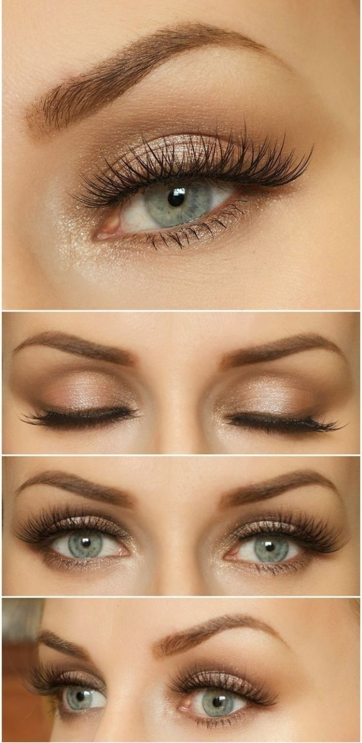 eyeshadow color for blue eyes and brown hair - wavy haircut