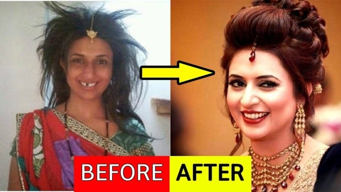 indian actress before and after makeup - wavy haircut