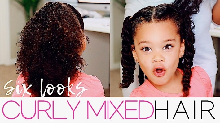 6 Hairstyles For Curly Mixed Hair | Easy Toddler Curly Hair Tutorial with Mixed Girls Hair Cut Pictures
