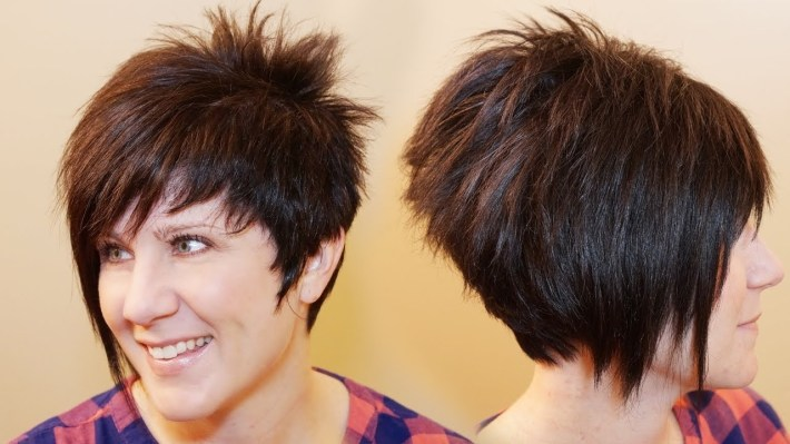 How To Cut Womens Hair // Short Pixie Assymetrical A-Line Haircut intended for Hair Cut One Side Short