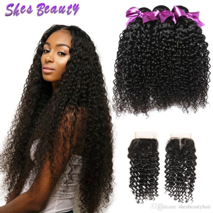 2019 Good Quality Indian Curly Hair Bundles 3 Bundles With Closure 100%  Unprocessed Indian Human Virgin Hair Natural Color Hair No Smelling From throughout Classic Indian Weave Hairstyles