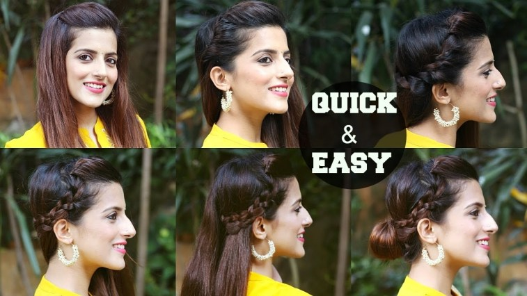 6 Quick & Easy Indian Hairstyles For Medium To Long Hair / Perfect Side  Hair Poof - No Teasing with Casual Indian Hairstyles For Long Hair