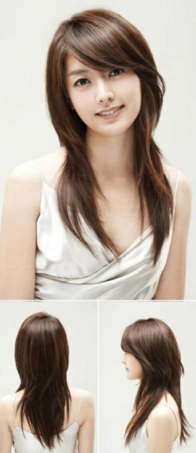 Asian Straight Layered Hair With Side Bangs Asian Side Swept Bangs in The most ideal Asian Layered Hair With Bangs