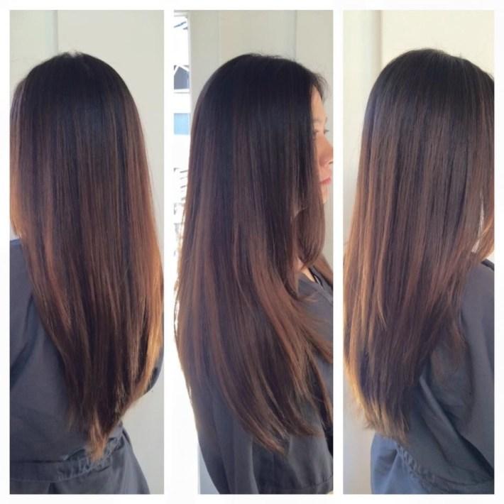 Balayage Caramel Highlights. Asian Hair. Asian Highlights with Asian Hair With Caramel Highlights