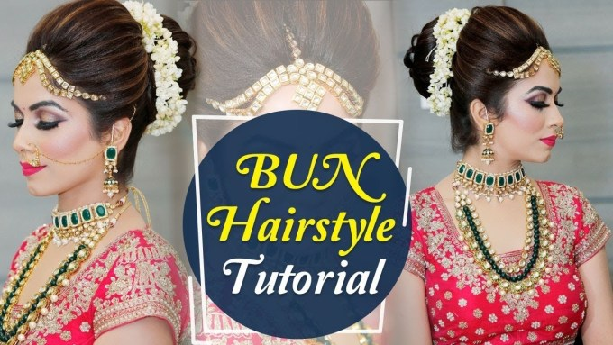 bun hairstyle for indian marriage - wavy haircut