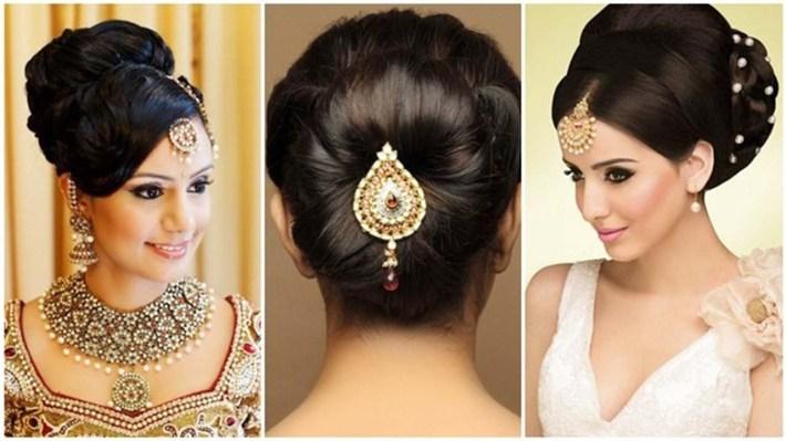Indian Bun Hairstyles For Medium Hair   Traditional Hairstyles For Indian  Wedding with Bun Hairstyle For Indian Bride