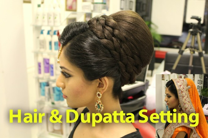 Indian, Pakistani, Asian Bridal Hair Style | Tikka & Dupatta Setting pertaining to Best Asian Wedding Hairstyles For Medium Hair