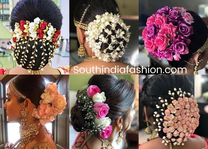 Indian Wedding Bun Hairstyle With Flowers And Gajra!   •hair• <3 with Bun Hairstyle For Indian Bride