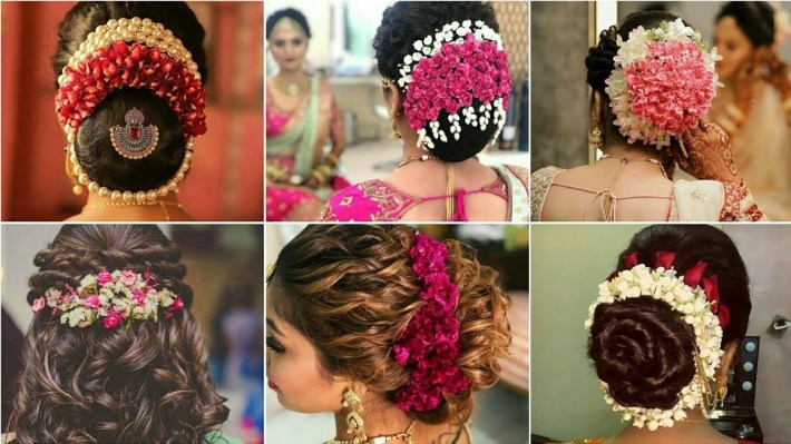 Latest Gajra Hairstyle For Wedding|Flowers Hairstyle Design|Bun with regard to Bun Hair Style For Indian Bride