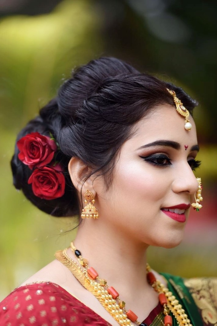 Marathi Wedding Makeup And Hair By Makeovers By Sukanya. Www inside Bridal Hairstyle Indian Marathi Style