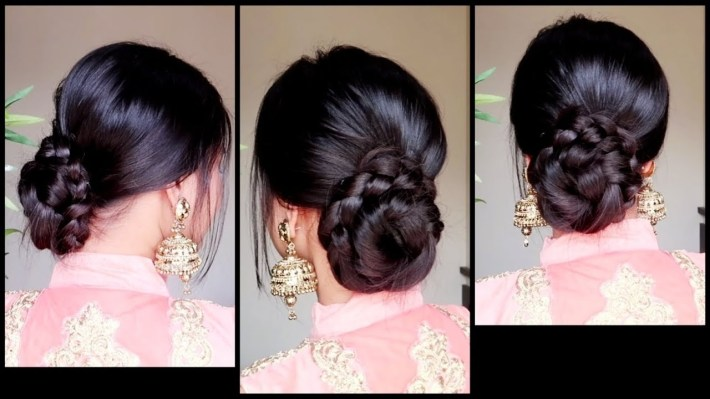 Quick Easy Braided Bun Hairstyle For Parties//indian Wedding Guest  Hairstyle For Medium To Long Hair throughout Bun Hairstyle For Indian Marriage