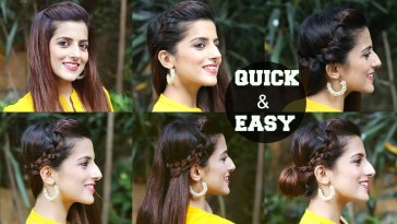 6 Quick & Easy Indian Hairstyles For Medium To Long Hair / Perfect Side  Hair Poof - No Teasing regarding Indian Hairstyle For Medium Hair