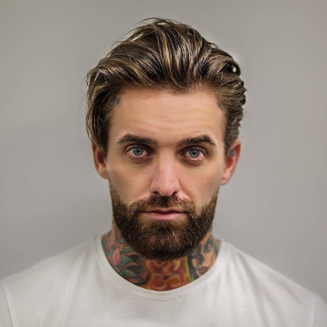 Mens Medium Length Combed Back Hair - Wavy Haircut