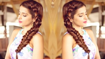 Hairstyle For Medium To Long Hair For Prom, Party | Indian Hairstyles |  Side Dutch Braid Hairstyle with Indian Braided Hairstyle For Long Hair