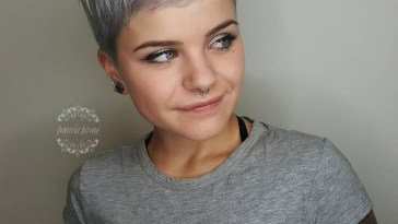 Partially Shaved Pixie Cut With Gray Coloring | Pixie Cuts regarding Short Fine Gray Hair Styles