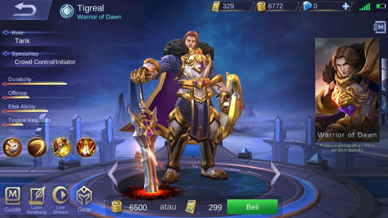 Hero Tigreal Mobile Legends.