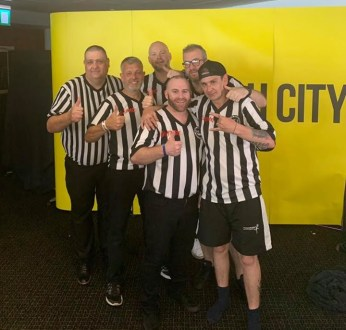 WAW referees' Fightmare 3 group photo at Carrow Road
