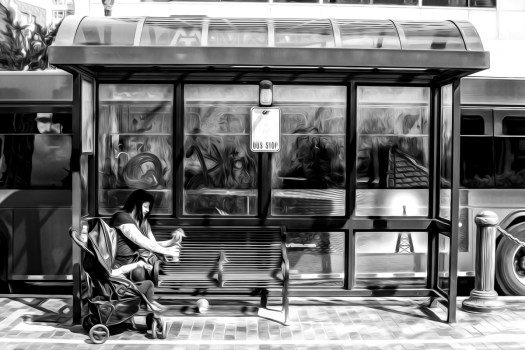 bus stop 37 b&w