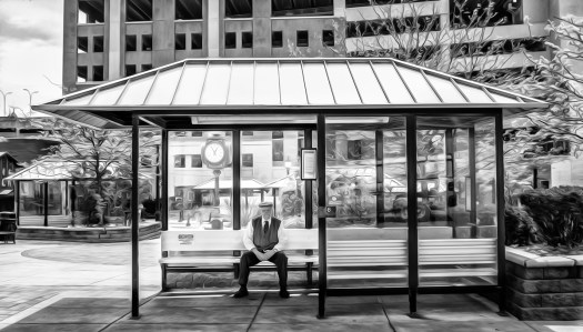 lancaster scenes at the bus stop-6 b&w