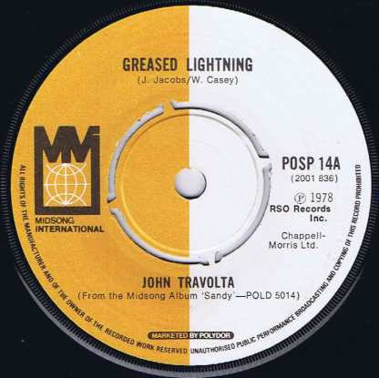 John Travolta – Greased Lightning - POSP 14 - 7-inch Vinyl Record