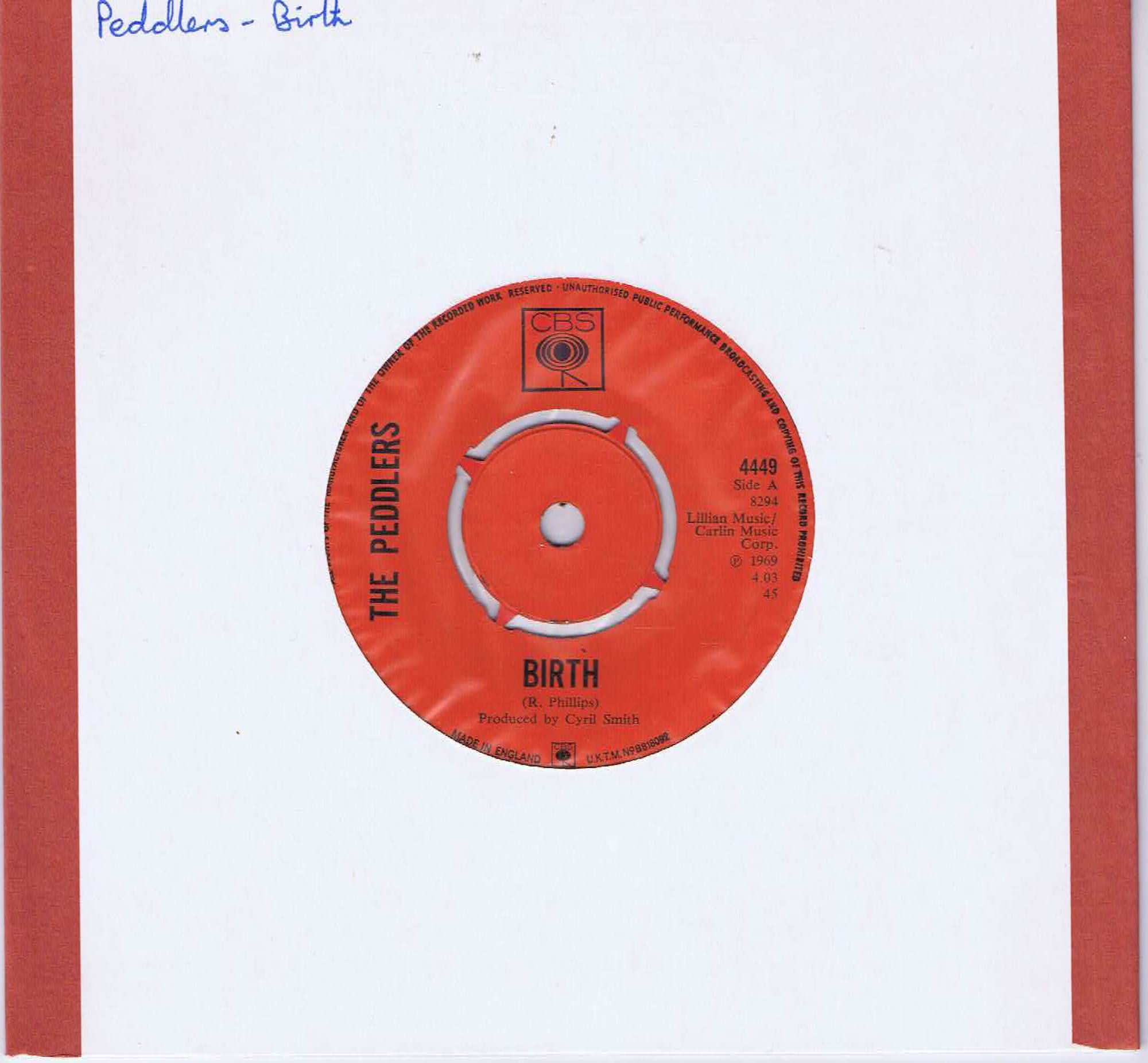 The Peddlers – Birth - CBS 4449 - 7-inch Vinyl Record • Wax Vinyl Records