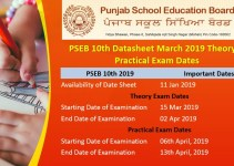 PSEB 10th Datesheet March 2019
