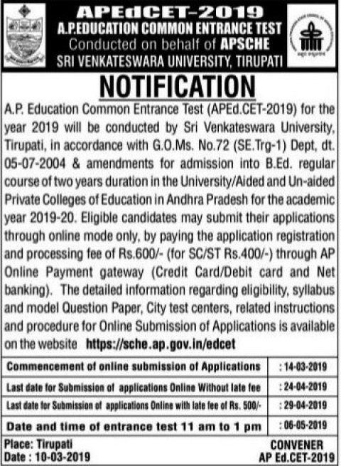 AP EDCET Notification 2019