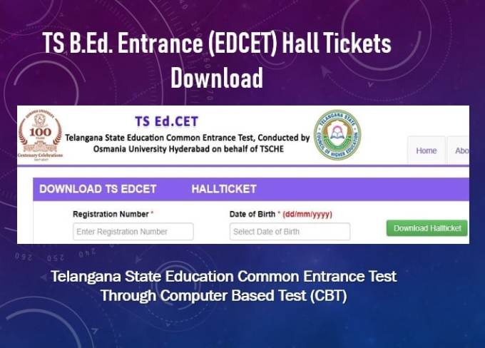 TS B.Ed Entrance (EDCET) Hall Tickets Download