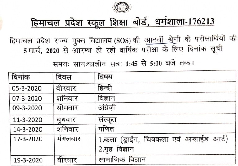 HPBOSE SOS 8th Date Sheet 2020 - Summer Session