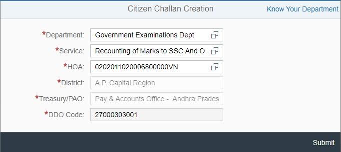 CFMS Citizen Challan Submit Button