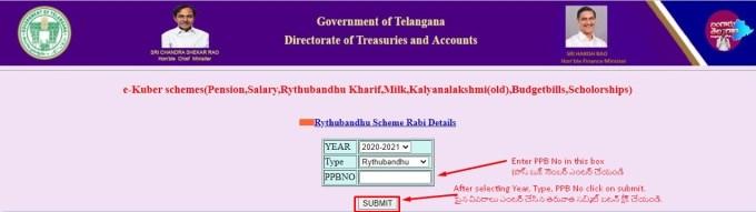 Rythu Bandu Scheme Payment Status PPO No