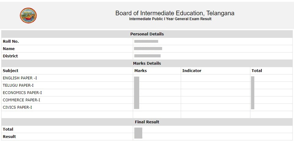 TS Inter Sample Results Page Screen 5