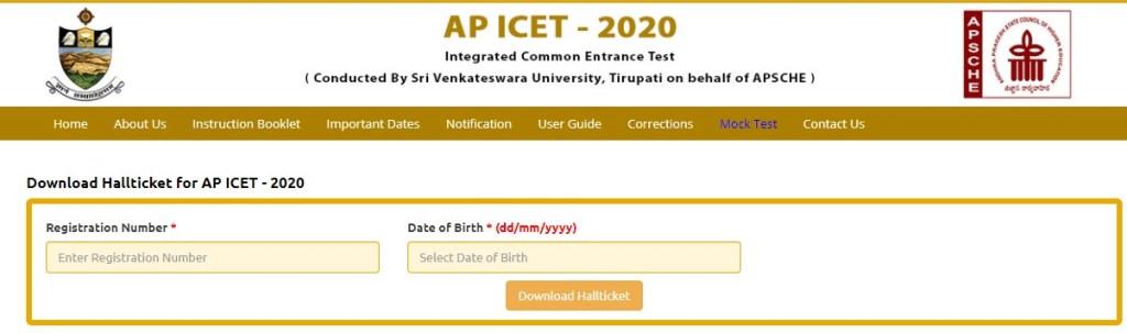 AP ICET Hall Ticket 2020