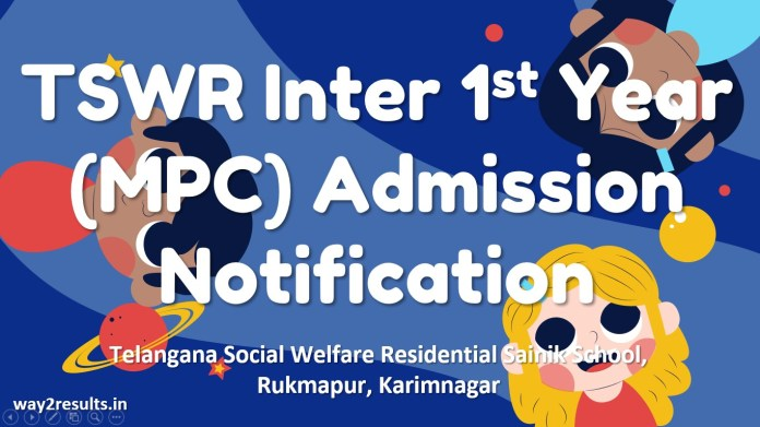 TSWR Inter 1st Year (MPC) Admission Notification