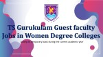 TS Gurukulam Guest faculty Jobs in Women Degree Colleges