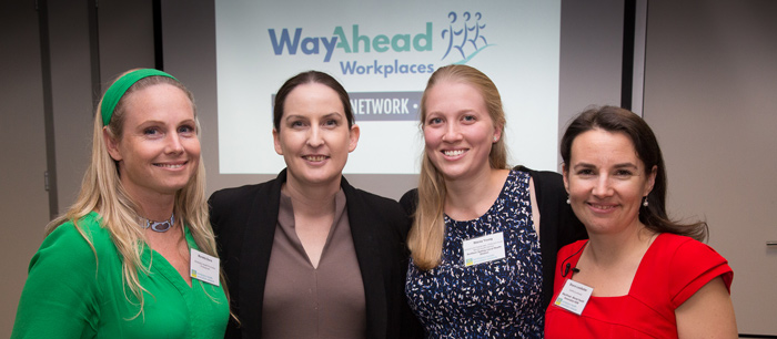 4 of the past and present leaders of WayAhead Workplaces. Marietta Davis, Katerina Davis, Stacey Young and Sharon Leadbetter (current)