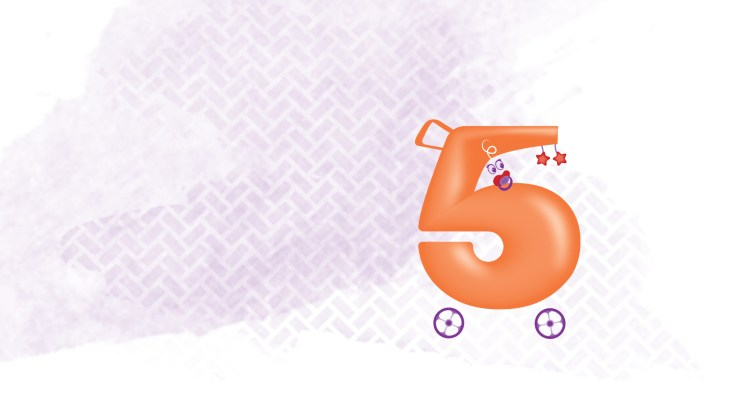Pale purple patterned background with an animated number 5 that also looks like a pram
