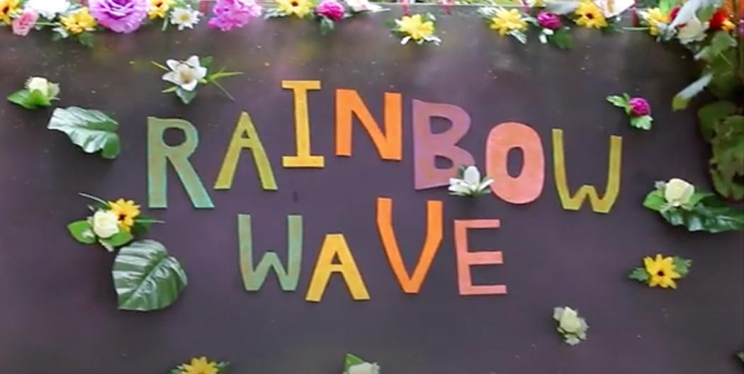 Rainbow Waves colourful sign